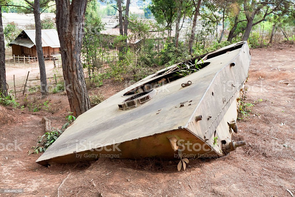 Remains of Russian tanks in valley pitchers after  war 1965-1973 stock photo