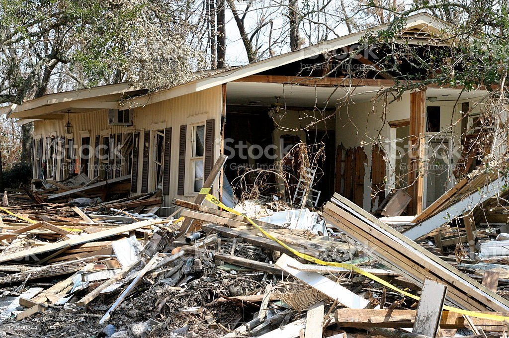 Remains of the devastation left by hurricane Katrina stock photo