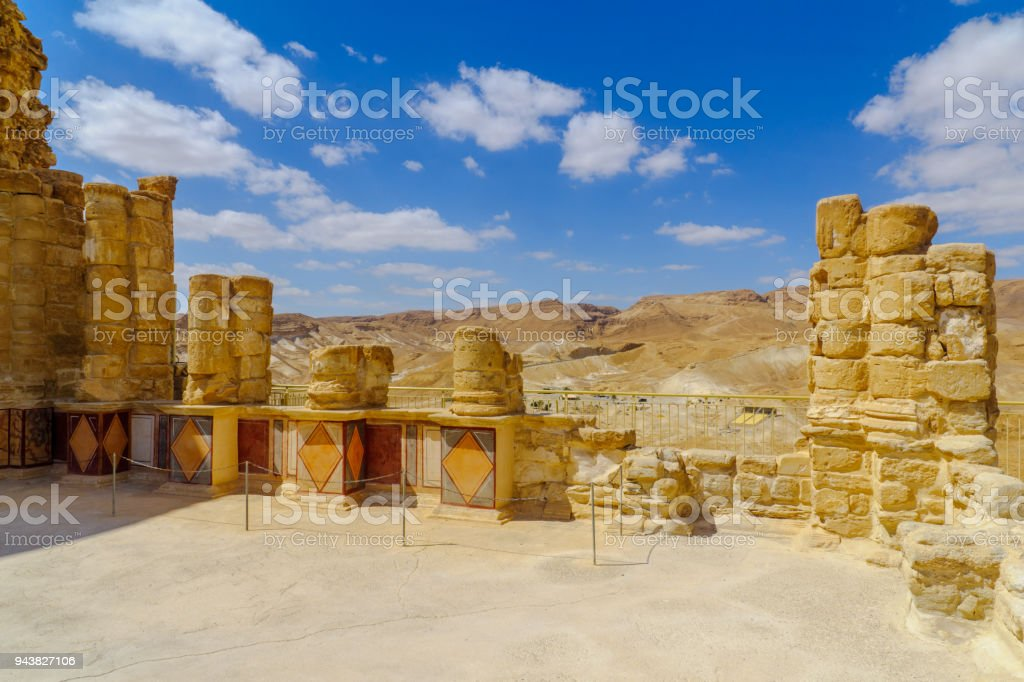 Remains of the fortress of Masada stock photo