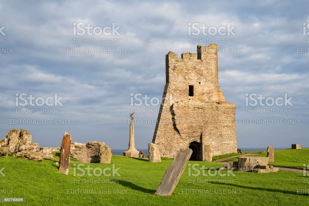 Remains of the north tower gateway at Aberystwyth Castle. stock photo
