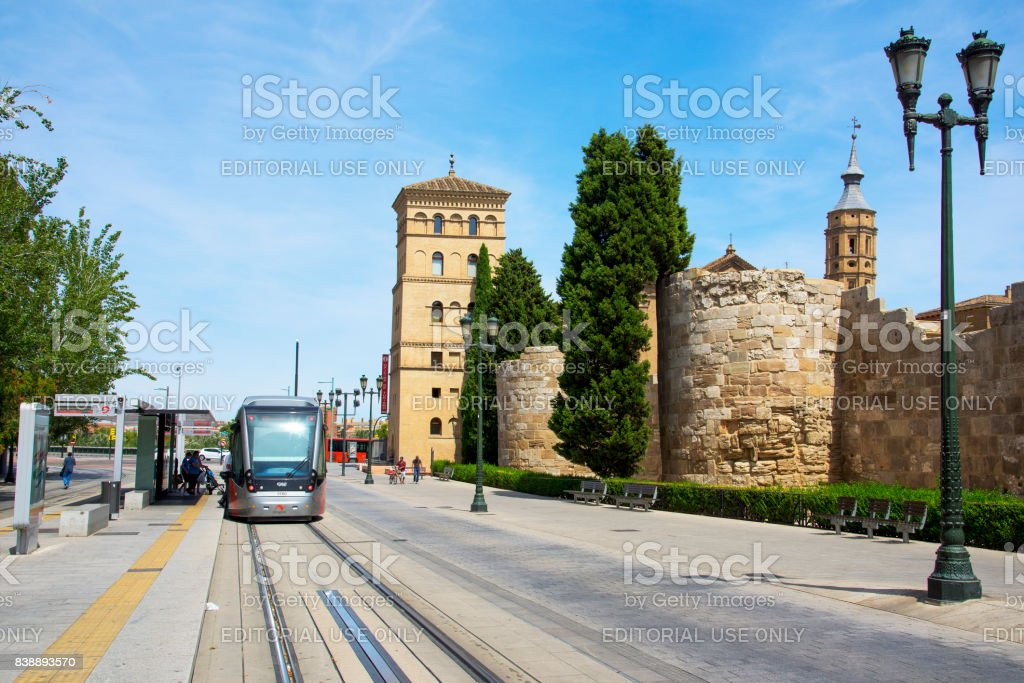 remains of the roman stonewall in Zaragoza, Spain stock photo