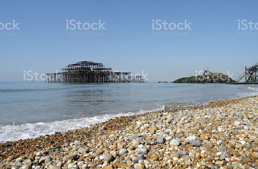Remains of the West Pier, Brighton Beach stock photo