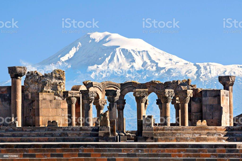 Remains of Zvartnots Temple and Mount Ararat, Armenia. stock photo