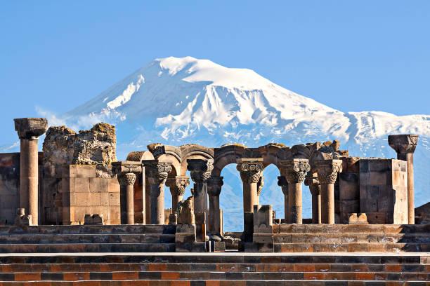 Remains of Zvartnots Temple and Mount Ararat, Armenia. Ruins of the Temple of Zvartnots with the Mount Ararat in the background, Yerevan, Armenia. yerevan stock pictures, royalty-free photos & images