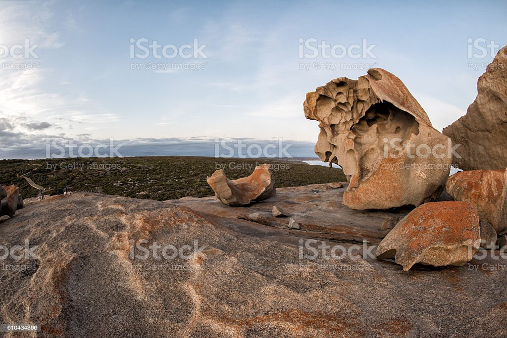 remarcable rocks in south kangaroo island at sunset stock photo