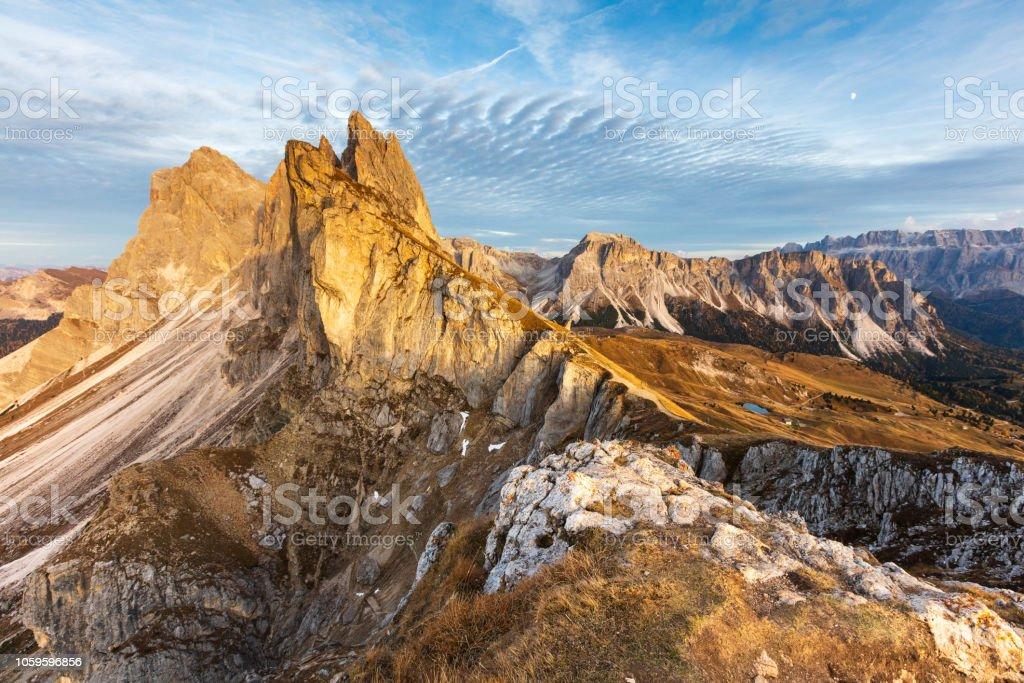 Remarkable alpean peak at sunset stock photo