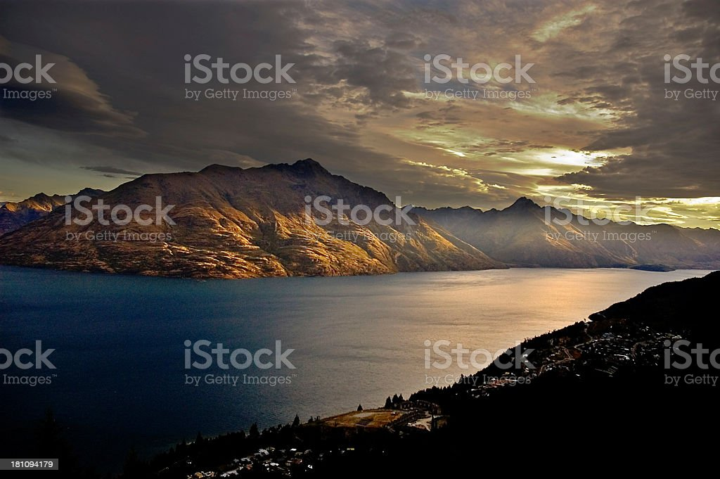 Remarkable Sunset at Queenstown stock photo