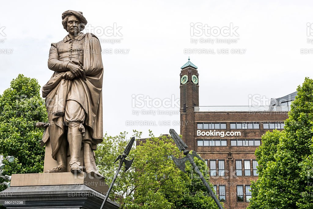 Rembrandt monument in front of booking.com headquaters stock photo