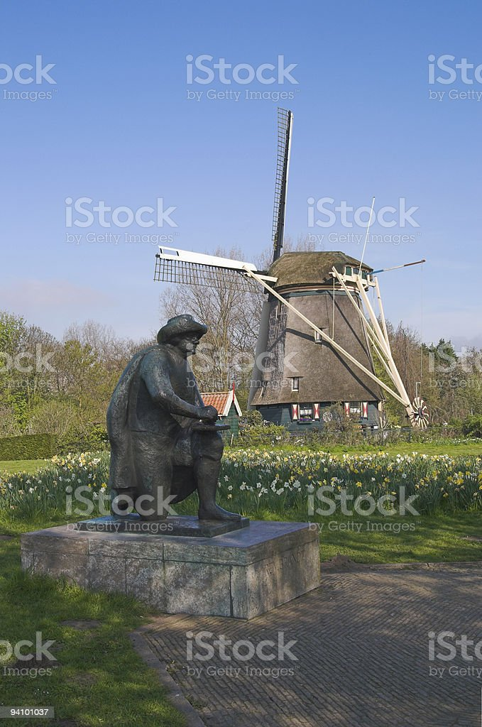 Rembrandt monument, Netherlands stock photo