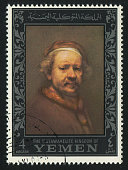 YEMEN - CIRCA 1972: stamp printed by Yemen, shows Self-Portrait by Rembrandt, circa 1972