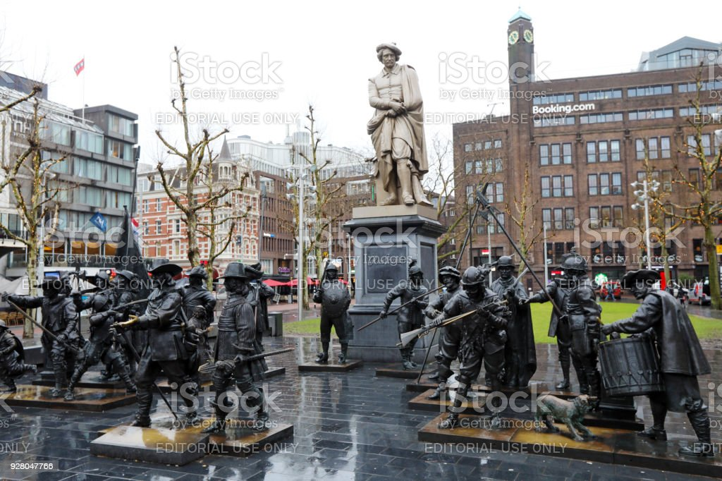 Rembrandt square and Night Watch in Amsterdam stock photo