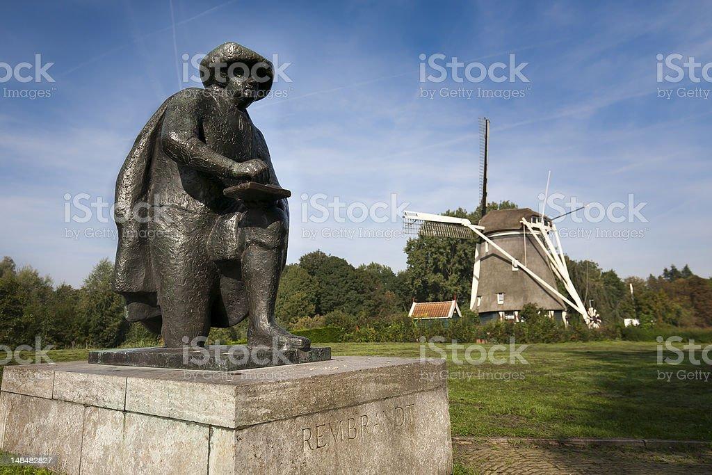 Rembrandt statue in Amsterdam stock photo
