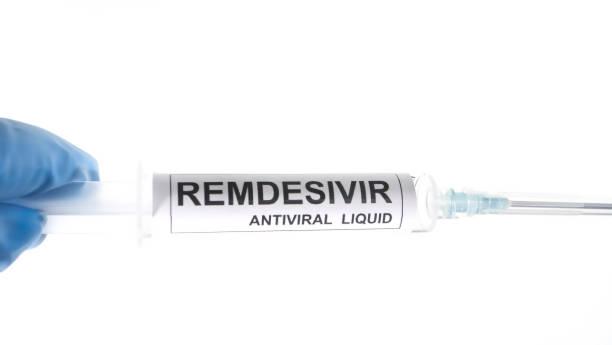 Remdesivir antiviral liquid for coronavirus covid-19 stock photo