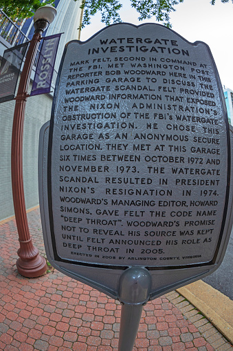"""Rosslyn, Washington DC: A plaque outside of the VA garage where the informant code-named """"Deep Throat"""" met with journalist Bob Woodward during the Watergate investigation."""