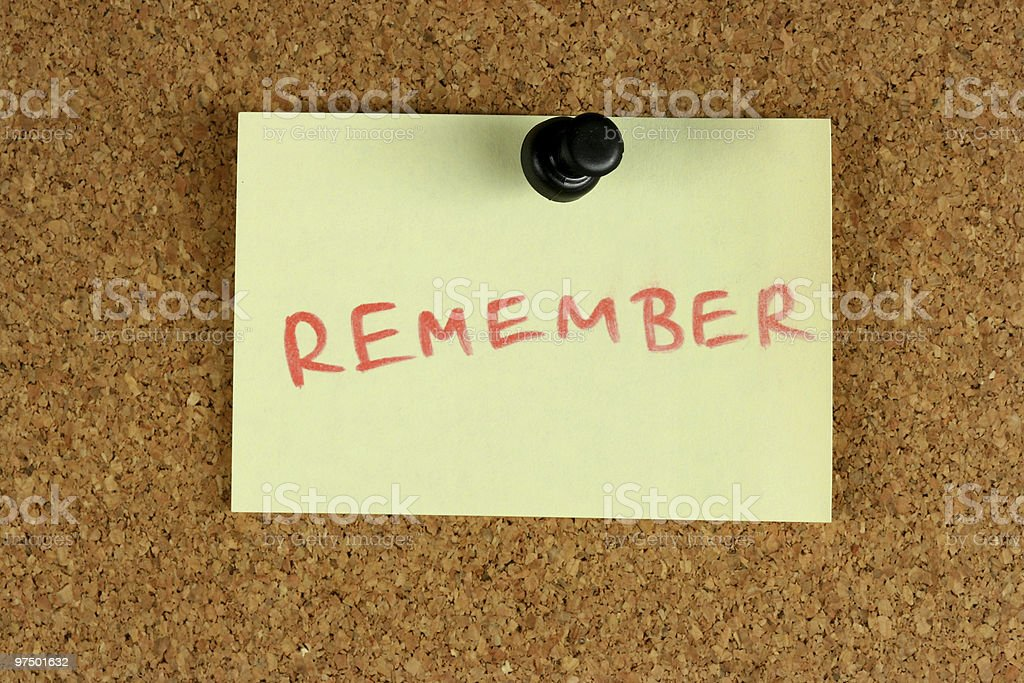 Remember post-it note royalty-free stock photo