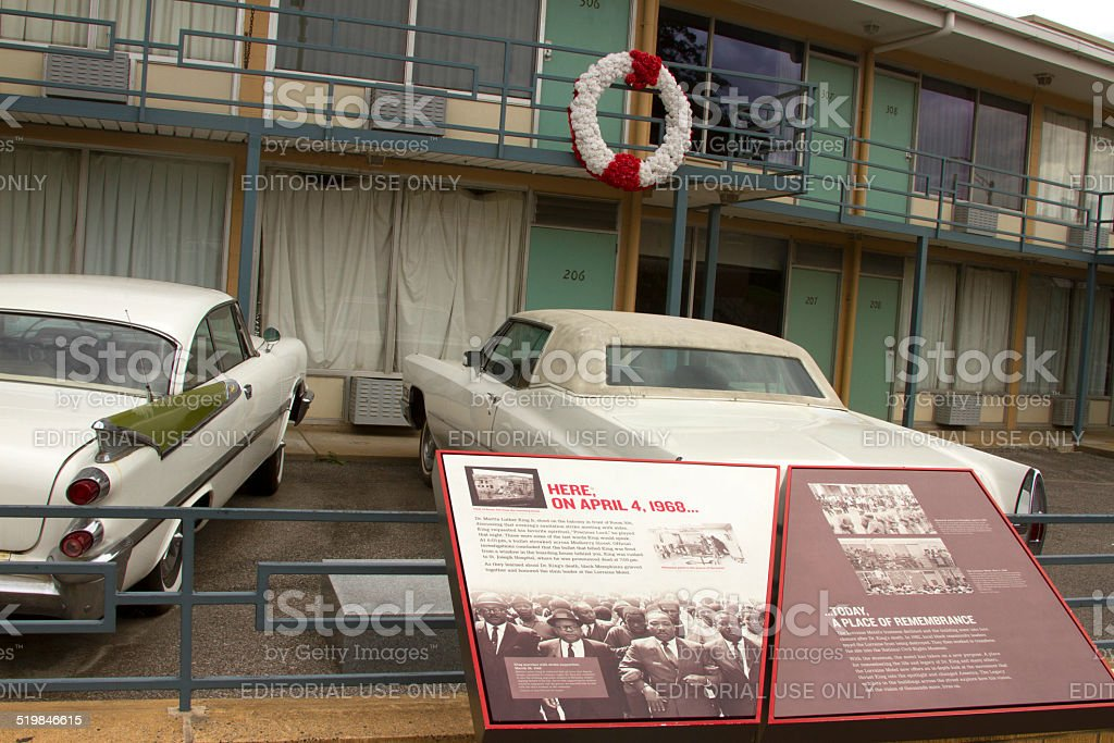 Rememberance to MLK at National Civil Rights Museum, Memphis stock photo