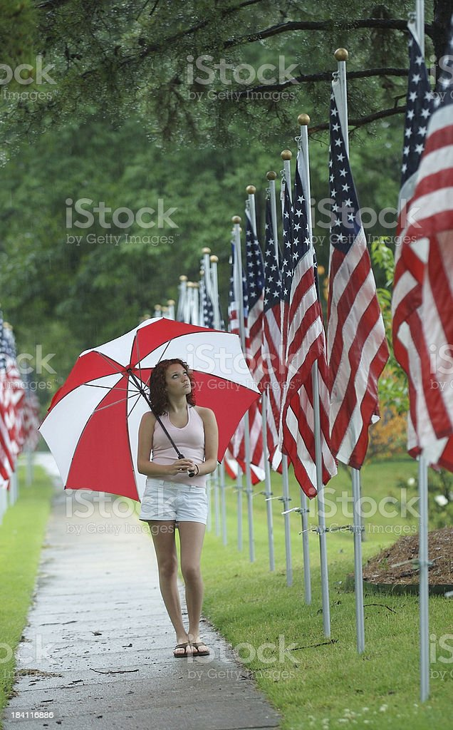 Remembering Heroes in the Rain royalty-free stock photo