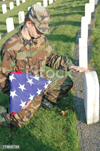 Soldier visits the grave of a lost hero.Similar soldier shots: