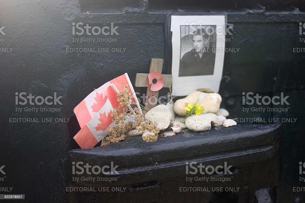 Remembrance altar on One Charlie tank, Juno Beach stock photo