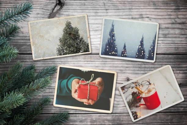 erinnerung und nostalgie in weihnachten - alte weihnachtsbäume stock-fotos und bilder