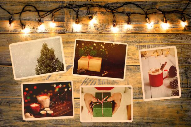 erinnerung und nostalgie in weihnachten - foto collage geschenk stock-fotos und bilder