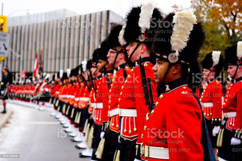 Remembrance Day Ceremony at Queen's Park Toronto 2017 stock photo