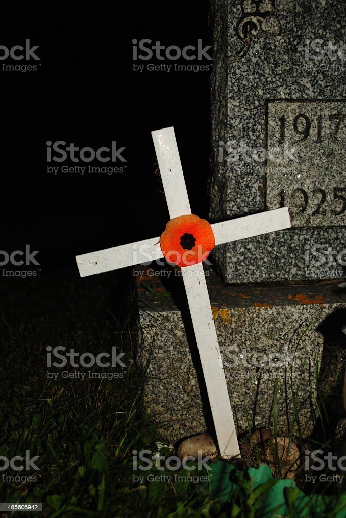 Remembrance Day Cross and Poppy stock photo