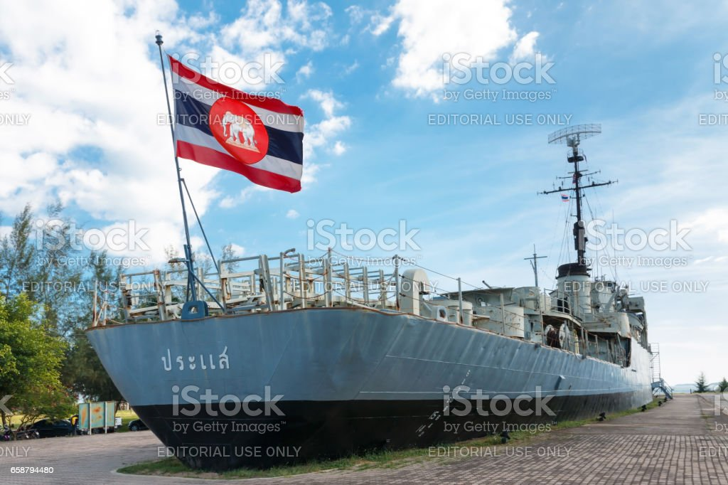 Remembrance luang prasae battleship stock photo