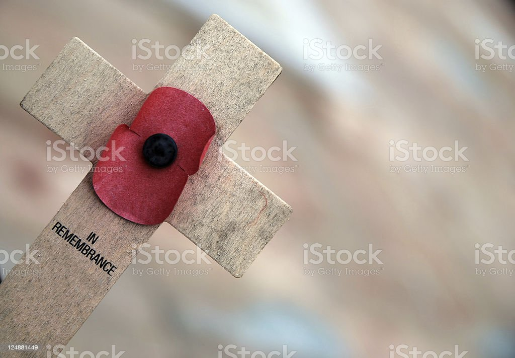 Remembrance poppy cross royalty-free stock photo