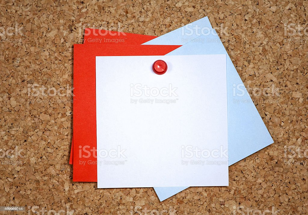 Reminder cards on pin board. stock photo