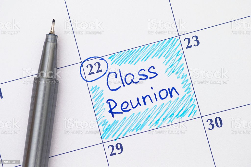 Reminder Class Reunion in calendar with pen stock photo
