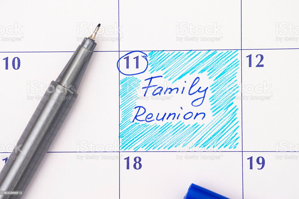 Reminder Family Reunion in calendar - foto de acervo