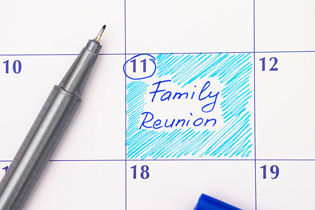 Reminder Family Reunion in calendar ストックフォト