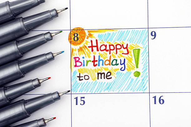reminder happy birthday to me in calendar with pens - geburtstag vergessen stock-fotos und bilder