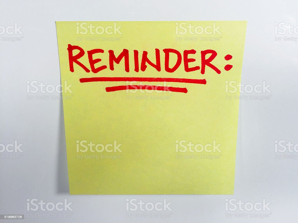 Reminder Note on White stock photo