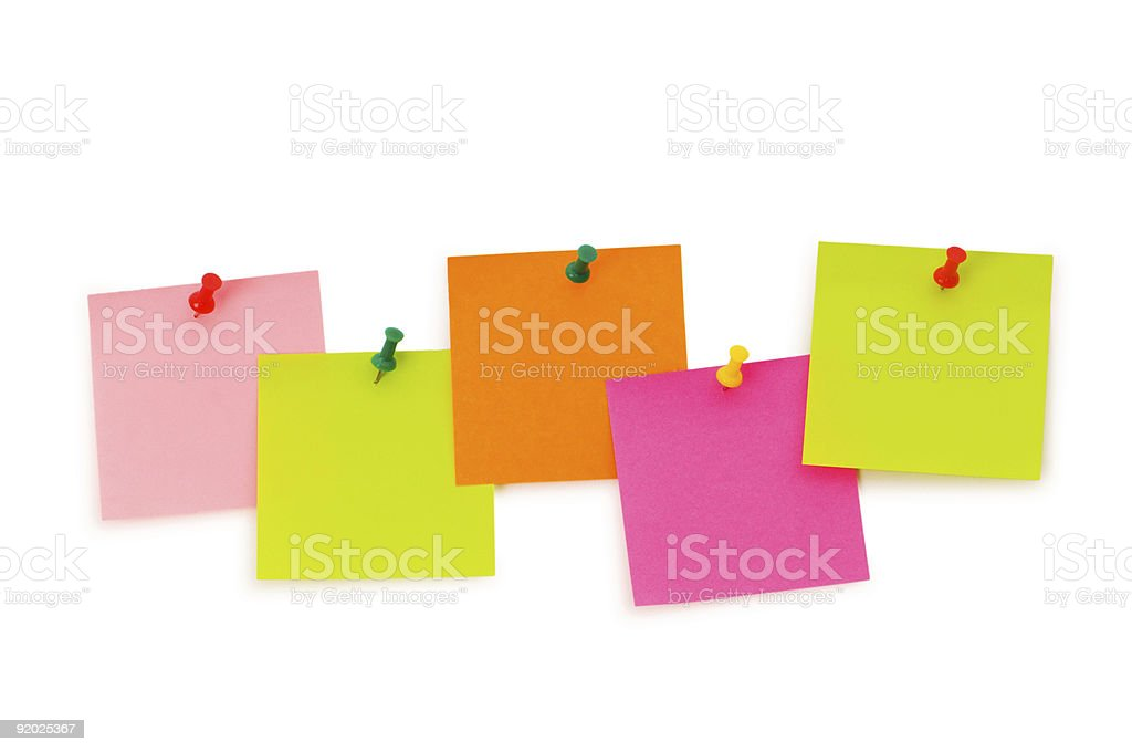 Reminder notes isolated on the white board royalty-free stock photo