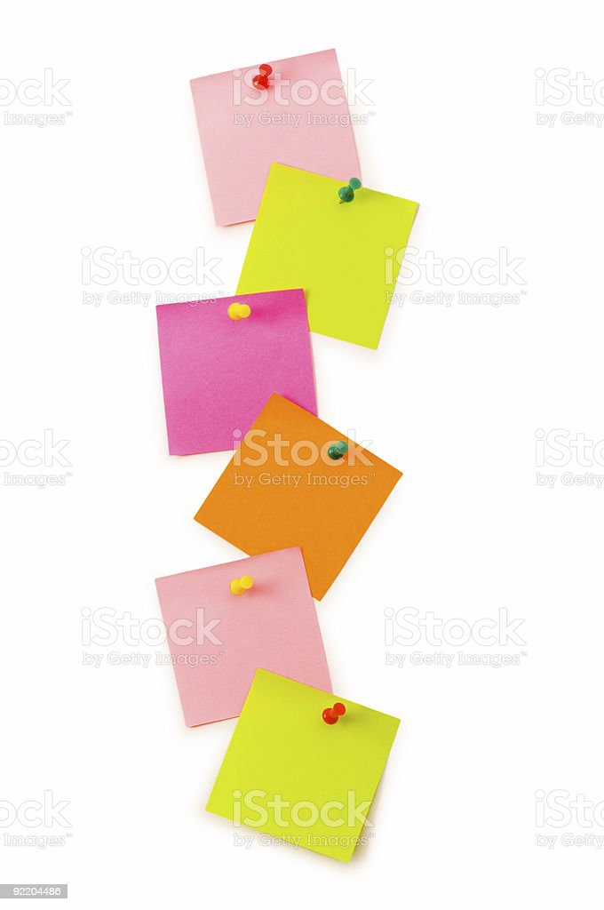 Reminder notes isolated on the white board stock photo