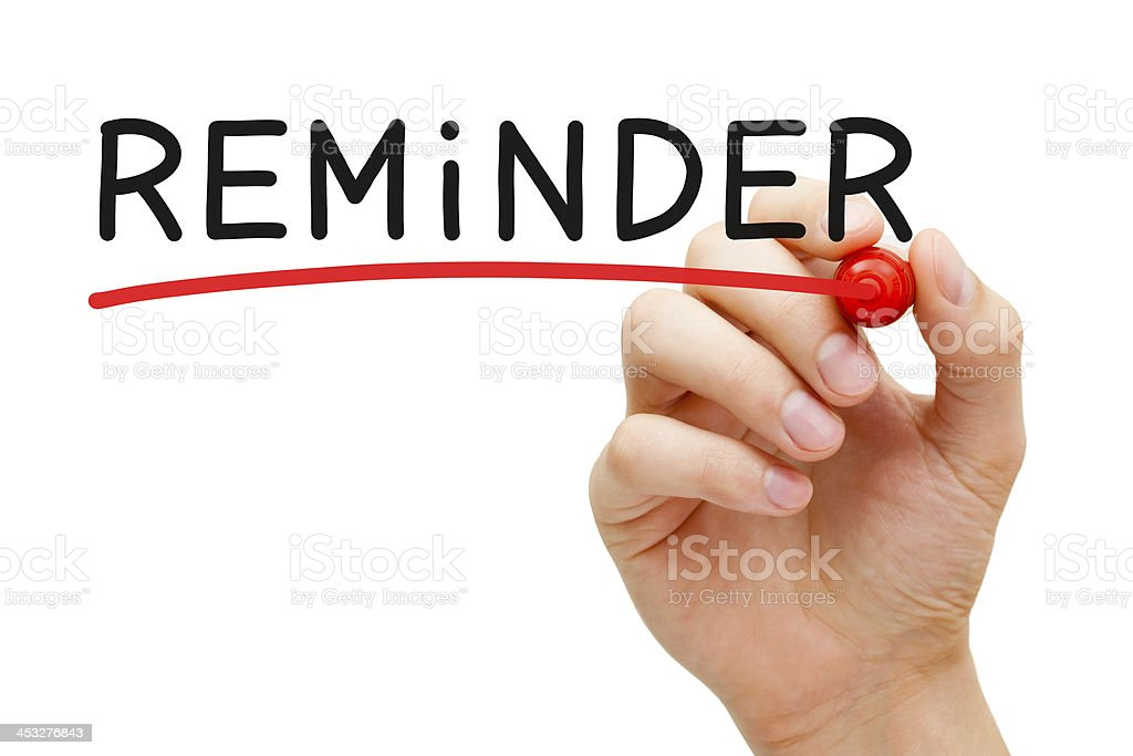 Reminder Red Marker stock photo
