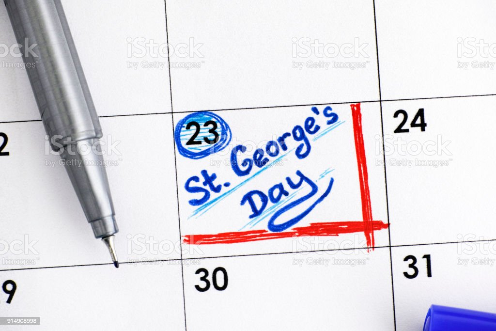 Reminder St Georges Day In Calendar With Blue Pen Stock Photo