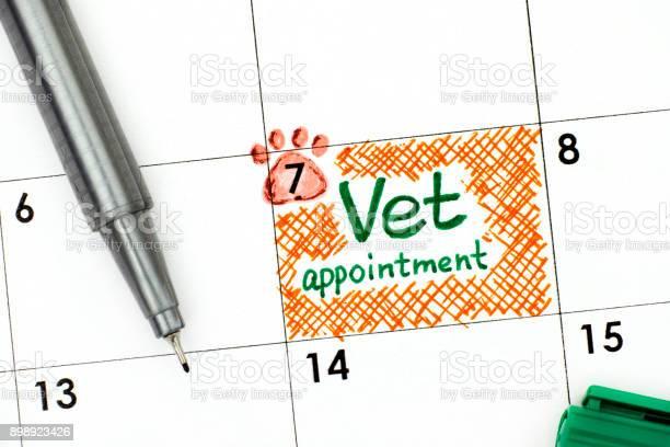Reminder vet appointment in calendar with green pen picture id898923426?b=1&k=6&m=898923426&s=612x612&h=v54m3rjzbjwjncmvd3k jtobqojujoar7v7std8az 8=