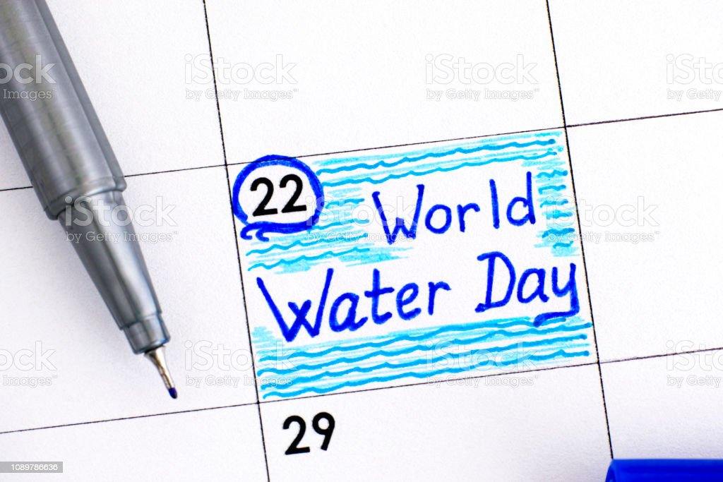 Reminder World Water Day In Calendar With Blue Pen Stock Photo