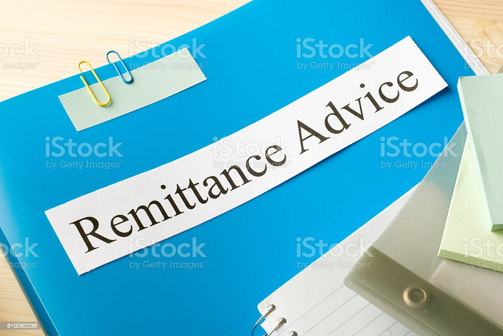 remittance advice stock photo