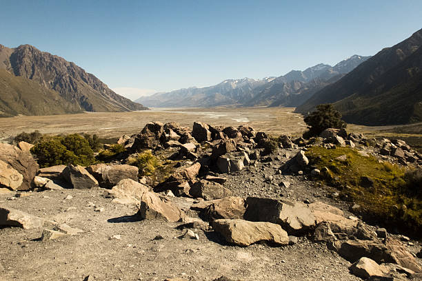 Remnants of a Glacier What's left of the lower edge of the Tasman Glacier apostrophe stock pictures, royalty-free photos & images