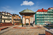 istock Remnants of the Jewish synagogue, Bima or Bimah in Tarnow, Poland. Jewish culture and architecture 1266469790