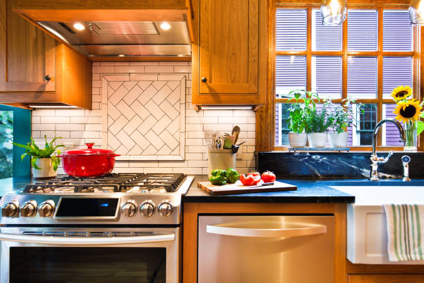 Remodeled Contemporary Classic Kitchen design with Gas Stove Range stock photo