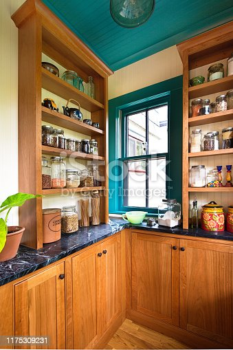 A contemporary classic kitchen renovation remodeling featuring a pantry storage shelf and maple cabinet.
