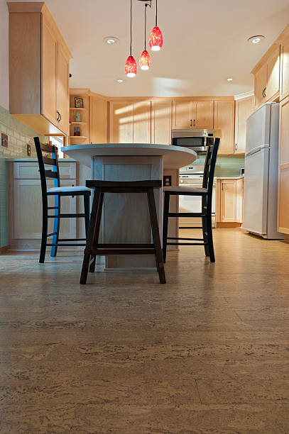 Remodeled Kitchen and Cork Floors stock photo