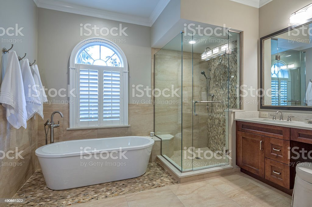 Remodeled Master Bathroom stock photo