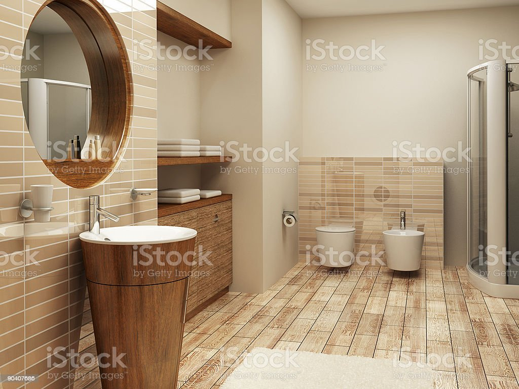 Remodeled natural modern bathroom stock photo