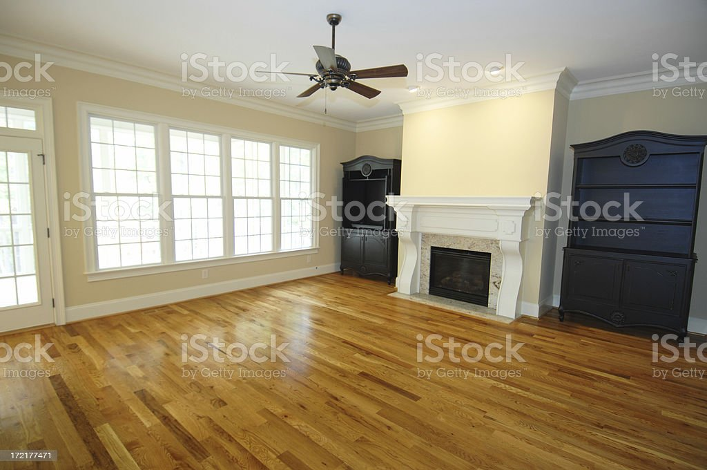 Remodeled room with hardwood floors royalty-free stock photo